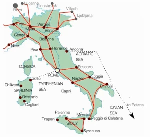 Карта железных дорог Италии