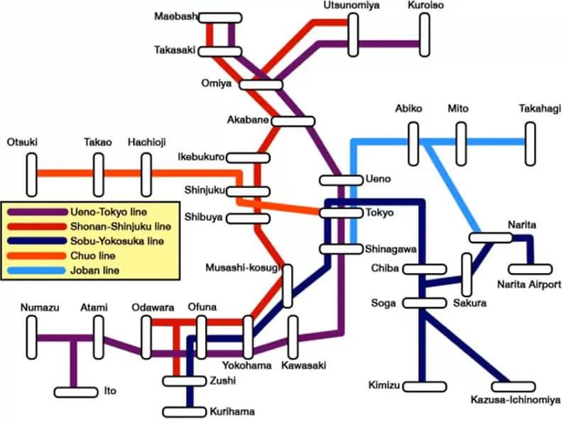 Схема движения поездов из аэропорта Нарита