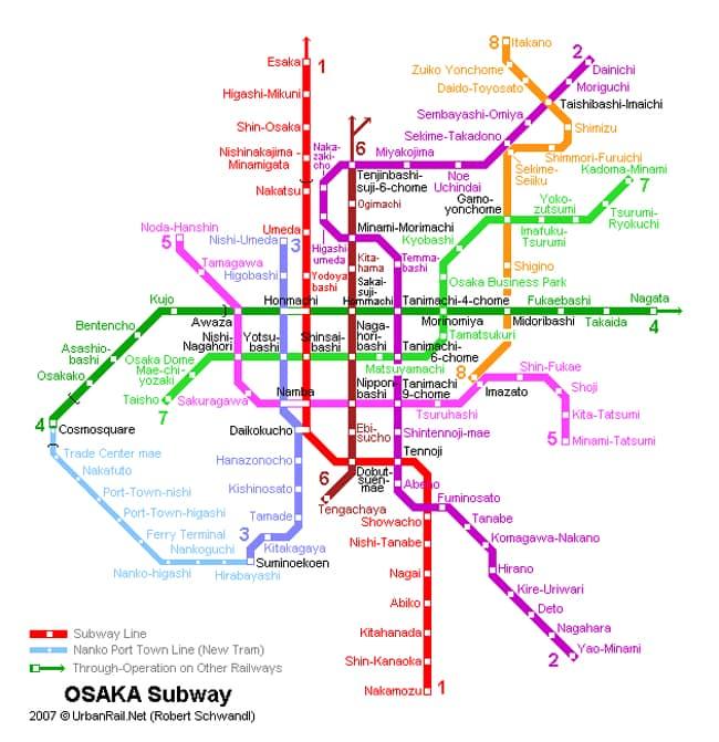 Осака карта метро