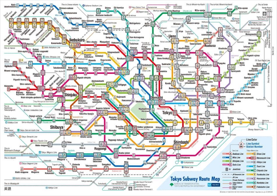 Метро Токио карта