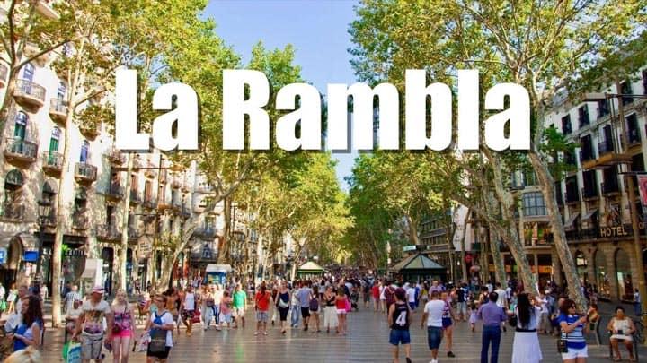 Пешеходная улица La Rambla Барселона