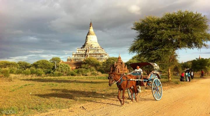 Лошадиная повозка на Багане, Мьянма