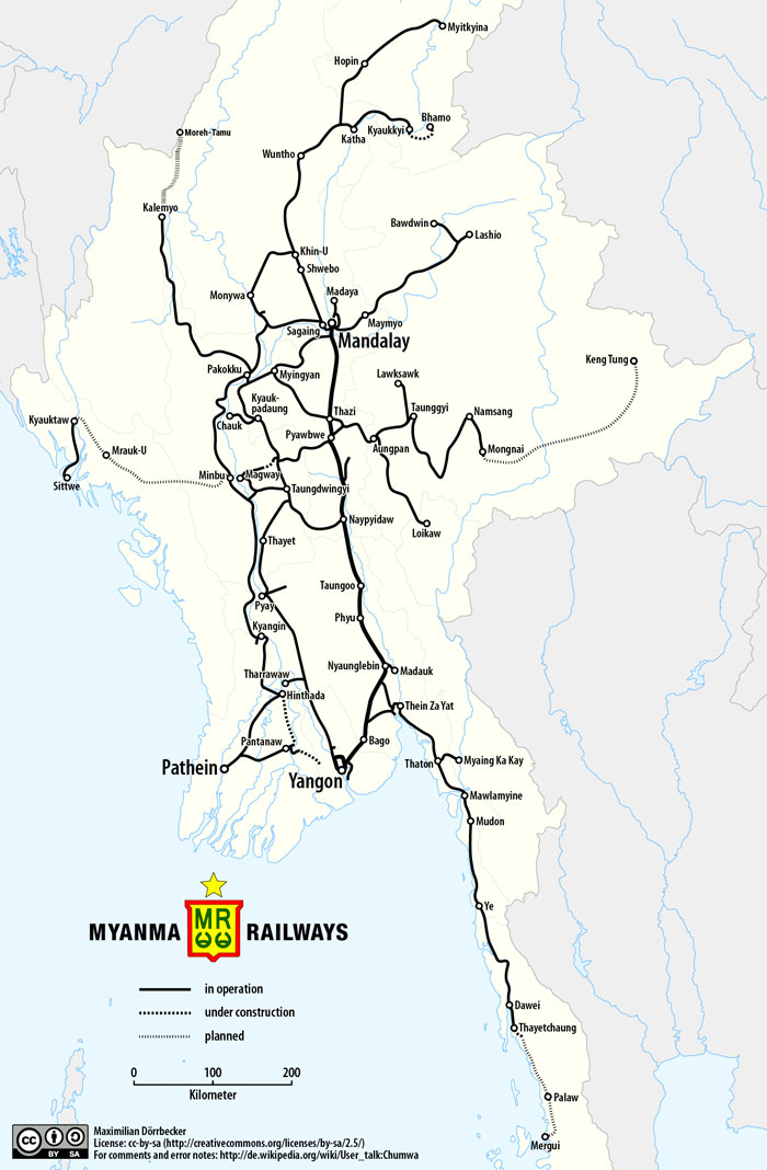 Карта железных дорог Мьянма